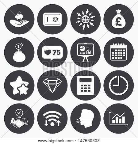 Calendar, wifi and clock symbols. Like counter, stars symbols. Money, cash and finance icons. Handshake, safe and calculator signs. Chart, safe and jewelry symbols. Talking head, go to web symbols. Vector