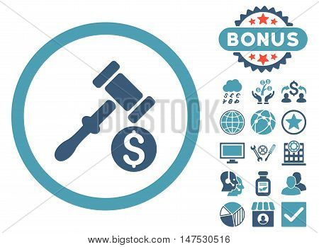 Auction icon with bonus pictures. Vector illustration style is flat iconic bicolor symbols, cyan and blue colors, white background.
