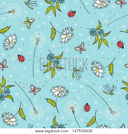 gentle blue seamless floral pattern with dandelions