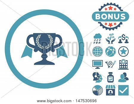 Award Cup icon with bonus pictures. Vector illustration style is flat iconic bicolor symbols, cyan and blue colors, white background.