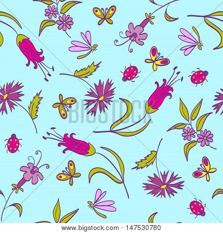 Seamless Pattern With Flowers On The Blue Background
