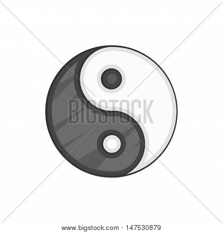 Yin Yang icon in black monochrome style isolated on white background. Religion symbol vector illustration
