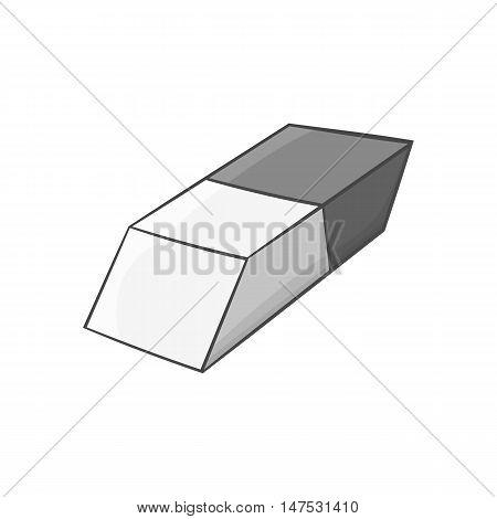 Eraser icon in black monochrome style isolated on white background. Stationery symbol vector illustration
