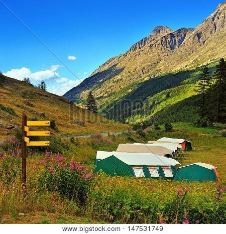 children's summer camping on landscape of alpine mountain