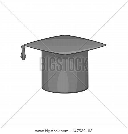 Hat student icon in black monochrome style isolated on white background. Headwear symbol vector illustration