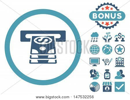 Bank Cashpoint icon with bonus images. Vector illustration style is flat iconic bicolor symbols, cyan and blue colors, white background.
