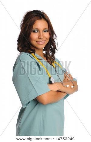 Portrait of Hispanic health care provider with arms crossed isolated over white background