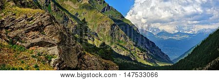 panoramic view of mountain Valle dAosta Italy