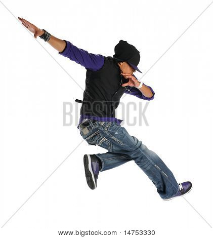 African American hip hop dancer jumping isolated over white background