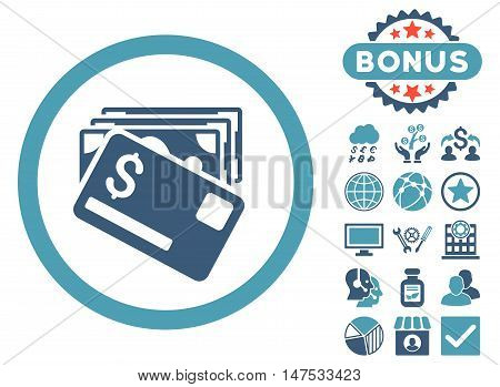 Banknotes and Card icon with bonus design elements. Vector illustration style is flat iconic bicolor symbols, cyan and blue colors, white background.