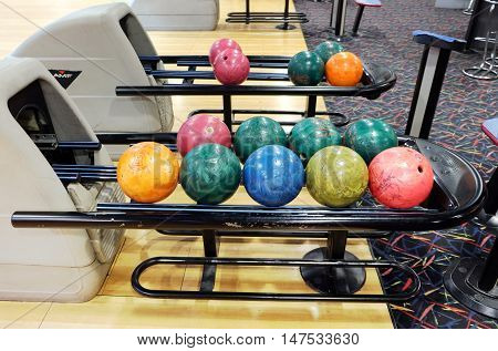 PENZA RUSSIA - AUGUST 30 2016: Automatic supply balls for playing bowling