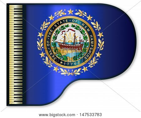 The New Hampshire state flag set into a traditional black grand piano