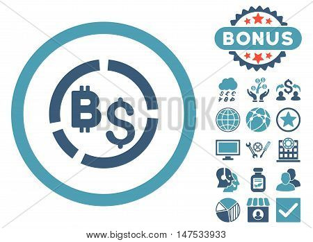 Bitcoin Financial Diagram icon with bonus symbols. Vector illustration style is flat iconic bicolor symbols, cyan and blue colors, white background.