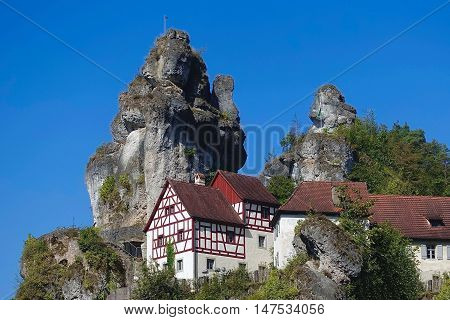 Tüchersfeld, Germany, September 13, 2016: Rock formations at Tüchersfeld in the Frankish Switzerland in Bavaria, Germany.