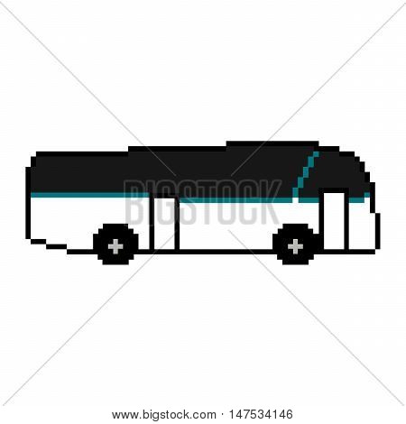 Pixel bus on a white backgrounnd. Vector illustration