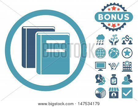 Books icon with bonus pictogram. Vector illustration style is flat iconic bicolor symbols, cyan and blue colors, white background.