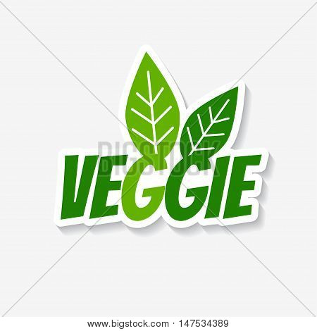 Vector veggie sticker. Veggie product label. Template for ads, signboards, packaging and identity and web designs.