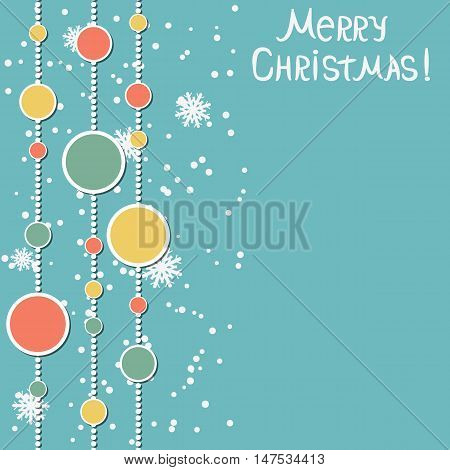Retro style Christmas and New Year vector background with colorful paper balls and garlands