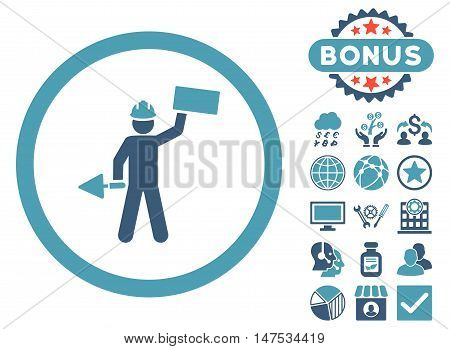 Builder With Shovel icon with bonus design elements. Vector illustration style is flat iconic bicolor symbols, cyan and blue colors, white background.