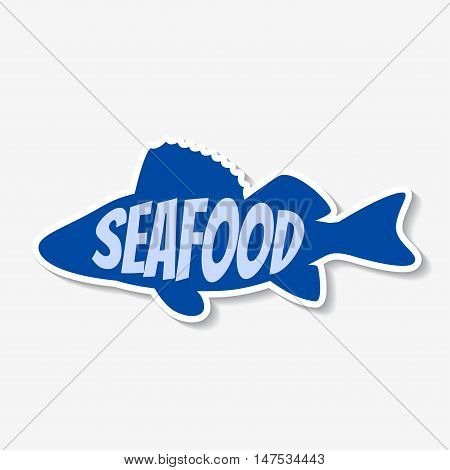 Vector seafood sticker. Fresh fish product label. Template for ads, signboards, packaging and identity and web designs.