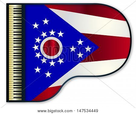 The Ohio state flag set into a traditional black grand piano