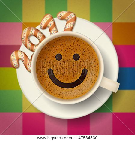 Coffee cup with smiling face on frothy surface. Cookies in form of digits are forming together a number 2017 on saucer. Good mood and vivacity for new year 2017