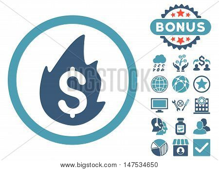 Business Fire Disaster icon with bonus symbols. Vector illustration style is flat iconic bicolor symbols, cyan and blue colors, white background.