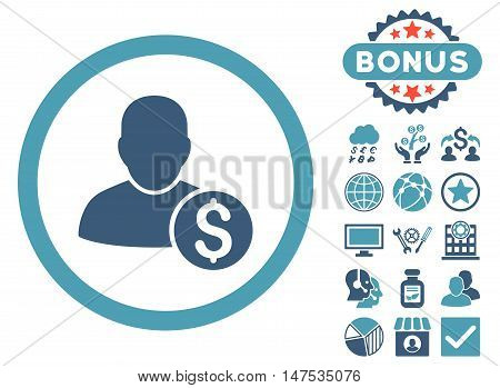 Businessman icon with bonus design elements. Vector illustration style is flat iconic bicolor symbols, cyan and blue colors, white background.