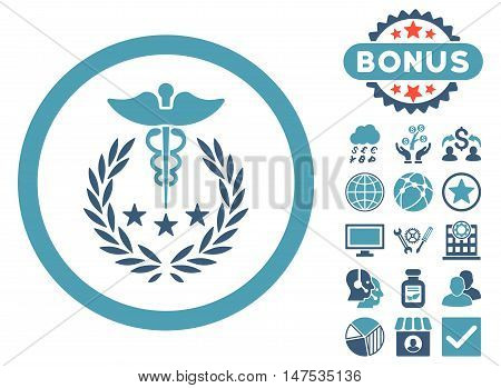 Caduceus Logo icon with bonus elements. Vector illustration style is flat iconic bicolor symbols, cyan and blue colors, white background.