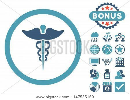 Caduceus icon with bonus pictogram. Vector illustration style is flat iconic bicolor symbols, cyan and blue colors, white background.