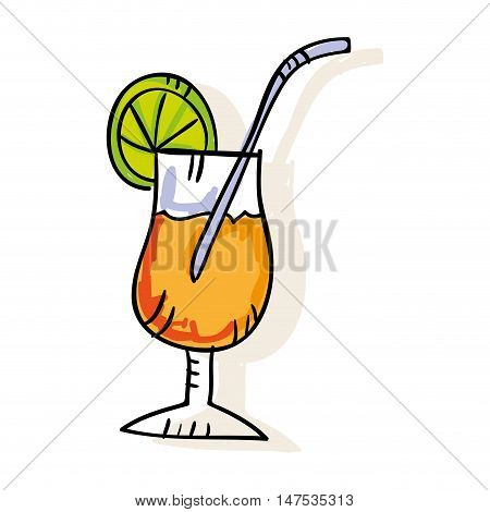 cocktail glass with slice limon and straw. drawn design. vector illustration