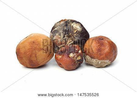 a pile of rotten oranges isolated on white background