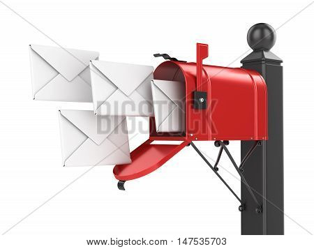 Red mailbox with letters This is a 3d computer generated image. Isolated on white.