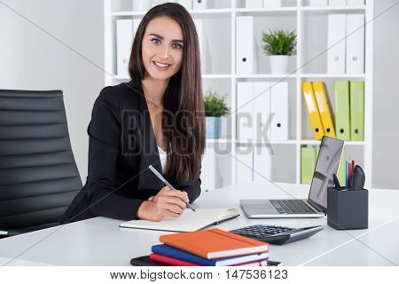 Smiling Business Lady With Long Hair