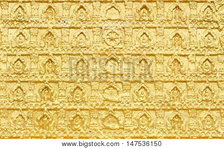 Bas relief of Buddhism image in golden color