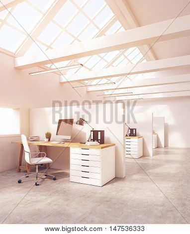 Office Cubicles In Room With Concrete Floor