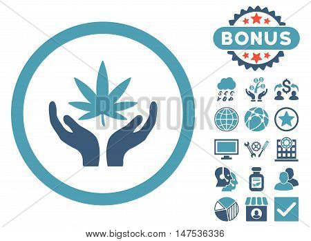 Cannabis Care Hands icon with bonus pictures. Vector illustration style is flat iconic bicolor symbols, cyan and blue colors, white background.