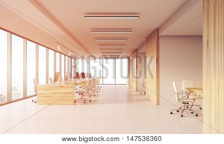 Design Studio Interior With Wooden Walls