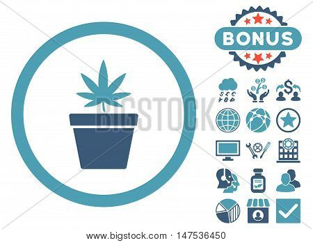 Cannabis Pot icon with bonus pictures. Vector illustration style is flat iconic bicolor symbols, cyan and blue colors, white background.