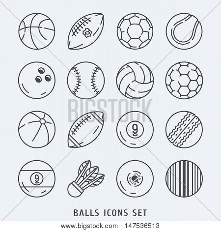 Balls icons set vector lines illustration black and white