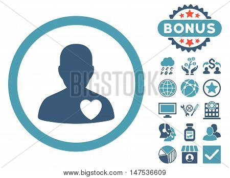 Cardiology Patient icon with bonus design elements. Vector illustration style is flat iconic bicolor symbols, cyan and blue colors, white background.