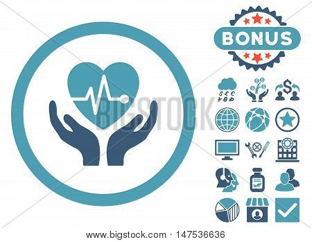 Cardiology icon with bonus symbols. Vector illustration style is flat iconic bicolor symbols, cyan and blue colors, white background.