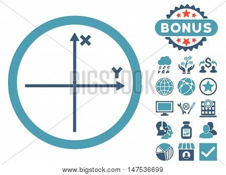 Cartesian Axis icon with bonus design elements. Vector illustration style is flat iconic bicolor symbols, cyan and blue colors, white background.