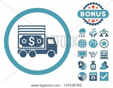Cash Lorry icon with bonus pictures. Vector illustration style is flat iconic bicolor symbols, cyan and blue colors, white background.