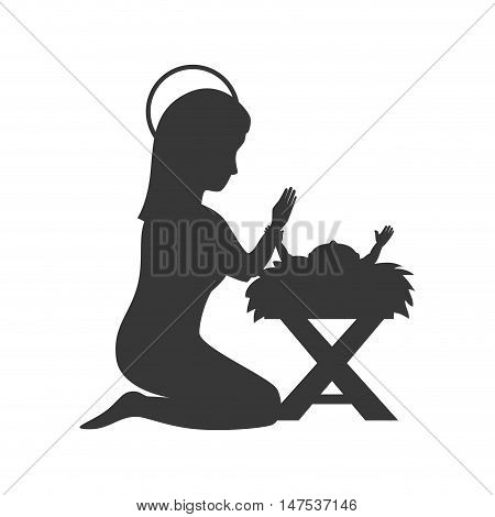 Traditional Christian Christmas Nativity Scene of baby Jesus in the manger with Mary in silhouette. vector illustration