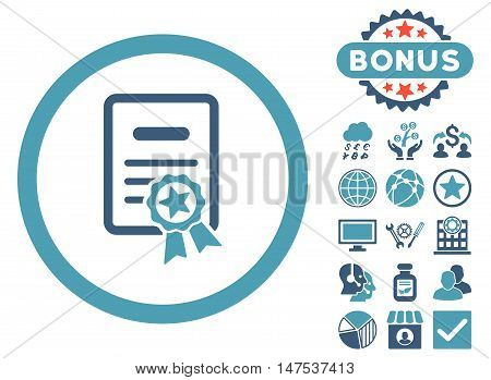 Certified Diploma icon with bonus pictogram. Vector illustration style is flat iconic bicolor symbols, cyan and blue colors, white background.
