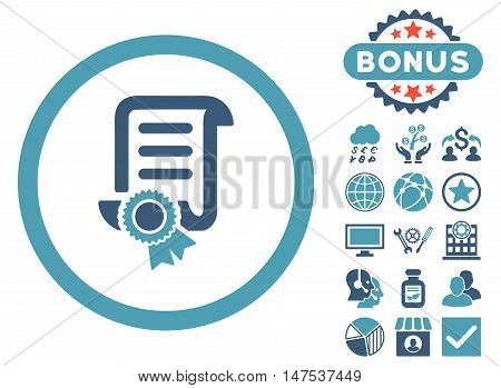 Certified Scroll Document icon with bonus pictogram. Vector illustration style is flat iconic bicolor symbols, cyan and blue colors, white background.