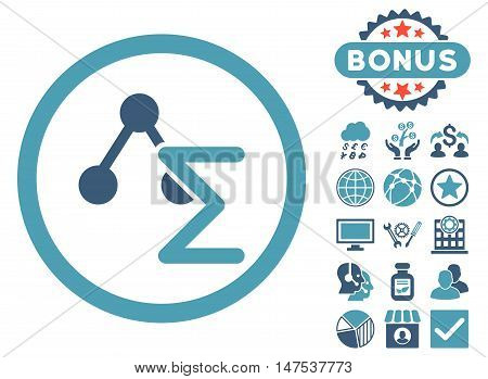 Chemical Formula icon with bonus symbols. Vector illustration style is flat iconic bicolor symbols, cyan and blue colors, white background.