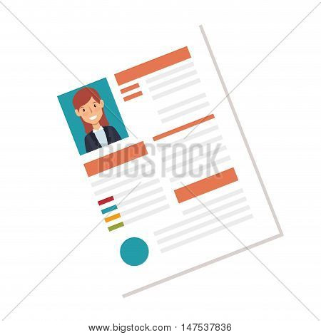 woman curriculum vitae document. cv professional resume page. vector illustration