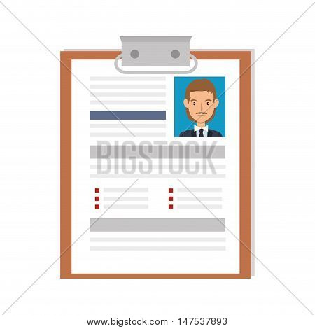 man curriculum vitae document. cv professional resume page. vector illustration